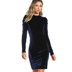 Royal Blue Puff Sleeve Pencil Long Sleeve Dress